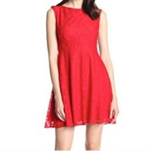 FRENCH CONNECTION RED SKATER MINI DRESS